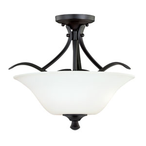 Cordoba Noble Bronze 13-Inch Wide Two-Light Semi Flush with Etched White Glass