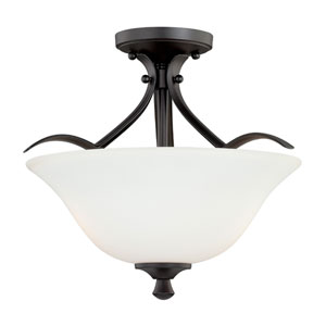 Cordoba Noble Bronze 16-Inch Wide Two-Light Semi Flush with Etched White Glass