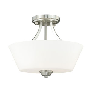 Calais Satin Nickel Three-Light Semi Flush with Frosted Opal Glass