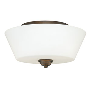 Calais Venetian Bronze Two-Light Flush Mount with Frosted Opal Glass