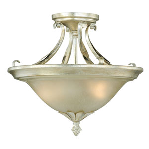 Austen Silver Leaf 13-Inch Semi-Flush Mount