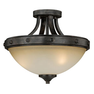 Halifax Aged Walnut Two-Light Semi Flush Mount
