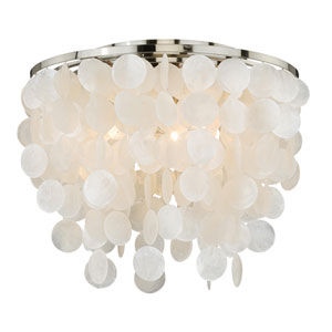 Elsa Satin Nickel Three-Light Flush Mount
