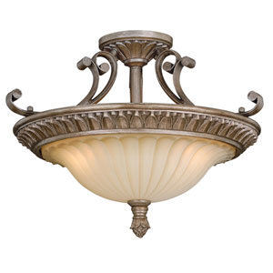 Avenant French Bronze Three-Light Semi Flush Mount