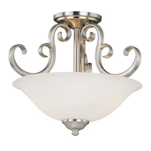 Belleville Satin Nickel Two-Light Semi-Flush Mount