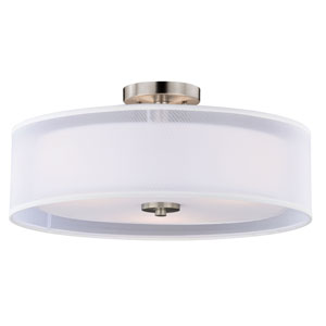 Nuage Satin Nickel Three-Light Semi-Flush Mount