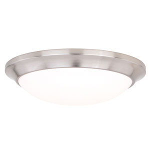 Leo Satin Nickel 12-Inch LED Bluetooth Flush Mount