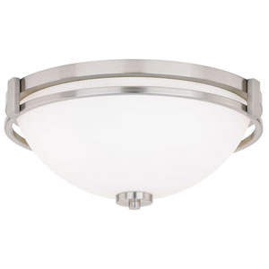 Metropolis Satin Nickel 15-Inch Two-Light Flush Mount