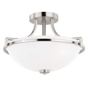 Metropolis Satin Nickel 17-Inch Three-Light Semi-Flush Mount