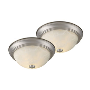 Builder Twin Packs Brushed Nickel Two-Light 13-Inch Flushmount