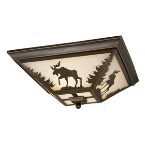 Yellowstone Burnished Bronze Three-Light 14-Inch Flushmount
