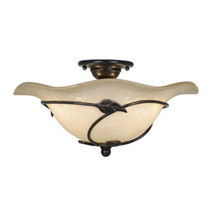 Vine Oil Shale Two-Light Semi Flush Ceiling Light