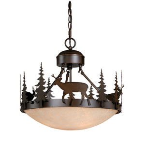 Bryce Burnished Bronze Three-Light 18-Inch Semi-Flush Ceiling Light