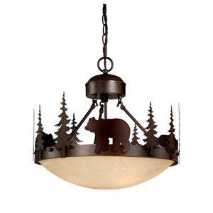 Bozeman Burnished Bronze Three-Light 18-Inch Semi-Flush Ceiling Light