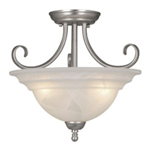 Babylon Brushed Nickel Three-Light 14-Inch Semi Flush