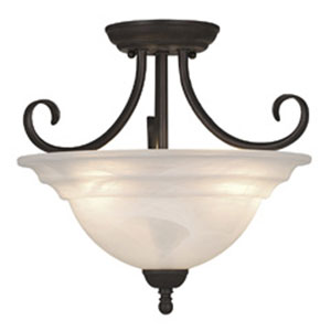 Babylon Oil Burnished Bronze Three-Light 14-Inch Semi Flush