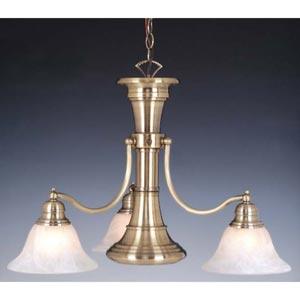 Standford Antique Brass Three-Light Chandelier with Downlight