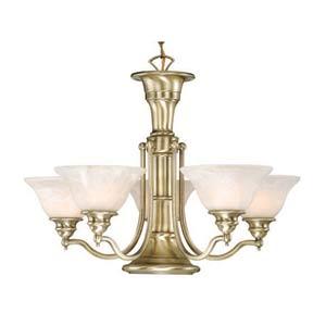 Standford Antique Brass Six-Light Chandelier