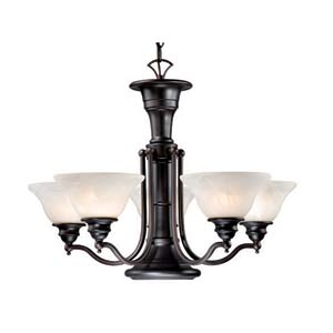 Standford Oil Burnished Bronze Six-Light Chandelier