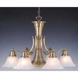Standford Antique Brass Six-Light Chandelier with Downlight