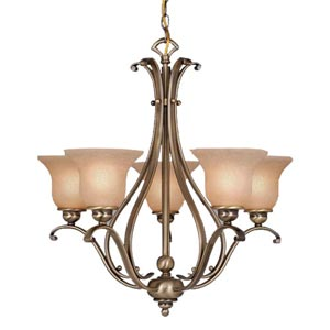 Monrovia Antique Brass Five-Light Chandelier