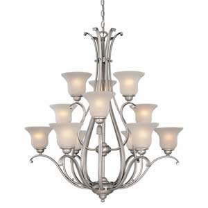 Monrovia Brushed Nickel Twelve-Light Chandelier