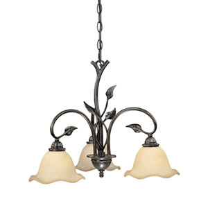 Vine Oil Shale Three-Light Chandelier W/ Amber Flake Glass