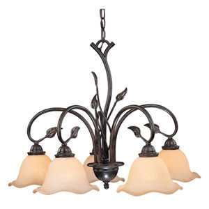 Vine Oil Shale Five-Light Chandelier