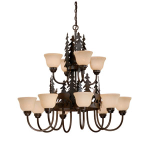Bryce Burnished Bronze Twelve-Light Chandelier