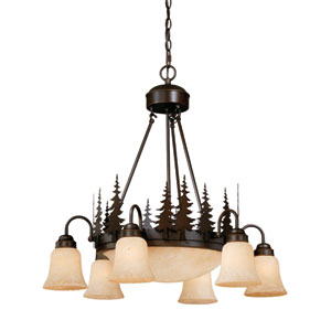Yosemite Burnished Bronze Nine-Light Chandelier