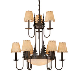 Yosemite Burnished Bronze Twelve-Light Chandelier