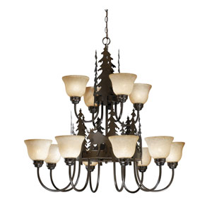 Yellowstone Burnished Bronze Twelve-Light Chandelier