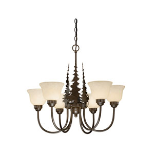 Yellowstone Burnished Bronze Six-Light Chandelier