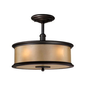 Carlisle Noble Bronze Three-Light 13-Inch Semi-Flush Ceiling Light