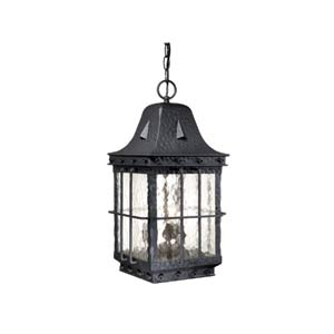 Edinburgh Textured Black Three-Light Outdoor Pendant