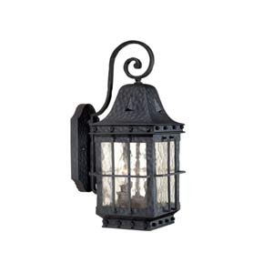 Edinburgh Textured Black Two-Light Outdoor Wall Light