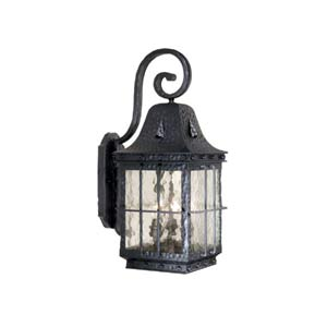 Edinburgh Textured Black Three-Light Outdoor Wall Light