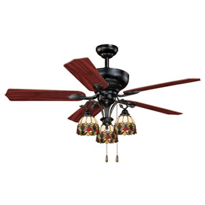 French Country Three-Light Oil Shale 52 Inch Blade Span Ceiling Fan
