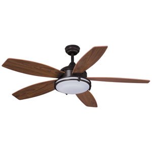Tali LED Oil Burnished Bronze 52-Inch One-Light LED Ceiling Fan with Walnut Blades