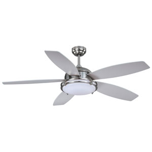 Tali LED Satin Nickel 52-Inch One-Light LED Ceiling Fan with Silver Blades