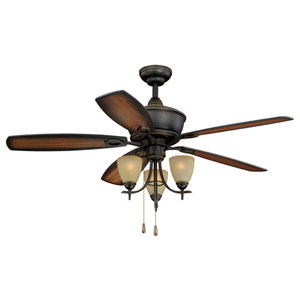Sebring Oil Rubbed Bronze Three-Light 52-Inch Ceiling Fan