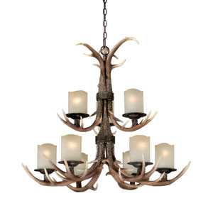 Yoho Nine-Light Black Walnut Chandelier