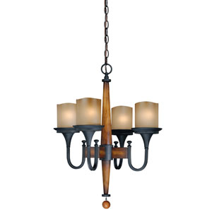 Meritage Charred Wood and Black Iron Four-Light Chandelier with Antique Cream Glass