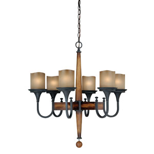 Meritage Charred Wood and Black Iron Six-Light Chandelier