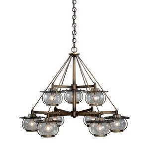 Jamestown Parisian Bronze Nine-Light Chandelier with Seeded Glass