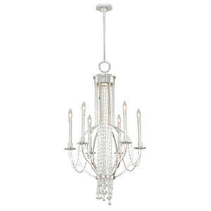 Cascata Polished Nickel Six-Light Chandelier with Clear Glass Drop Crystals