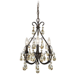 Alicia Gold Flake Bronze Three-Light Mini Chandelier with Amber Drop Crystals