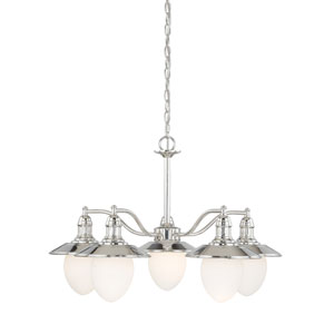 Marina Bay Polished Nickel Five-Light Chandelier with Frosted Opal Glass