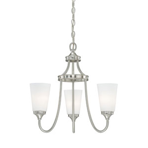 Lorimer Satin Nickel Three-Light Chandelier with Frosted Opal Glass