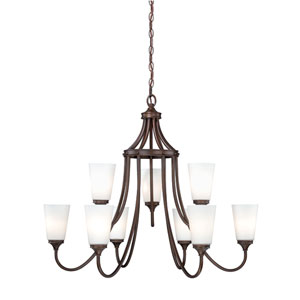 Lorimer Venetian Bronze Nine-Light Chandelier with Frosted Opal Glass